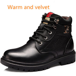 Fashion Winter Genuine Leather Snow Boots Waterproof Boots wool Plush Warm Boots