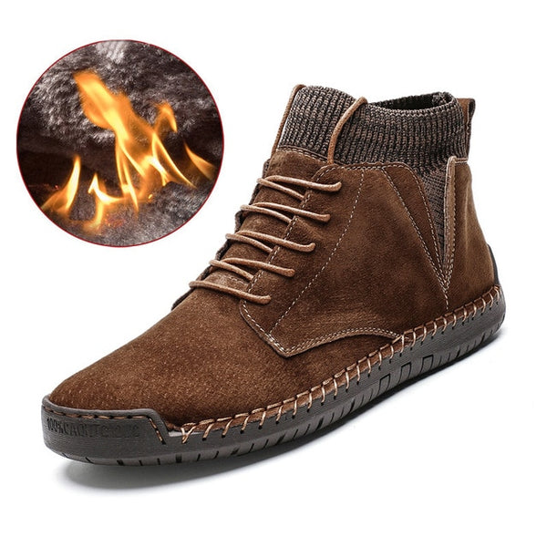 Winter Plush Warm Men Snow Boots Motorcycle Boots Lace-Up Non-slip Male Ankle Boots