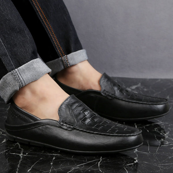 Men Genuine Leather Slip on Handmade Soft Moccasins