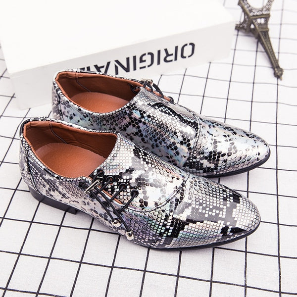 New Imitate Snake Leather Lace Up Casual Business Oxford Shoes Pointed Wedding Dress Shoes