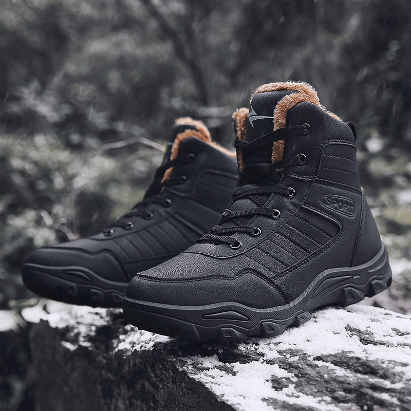 Winter Mens Warm Fashion Waterproof Ankle High Snow Boots