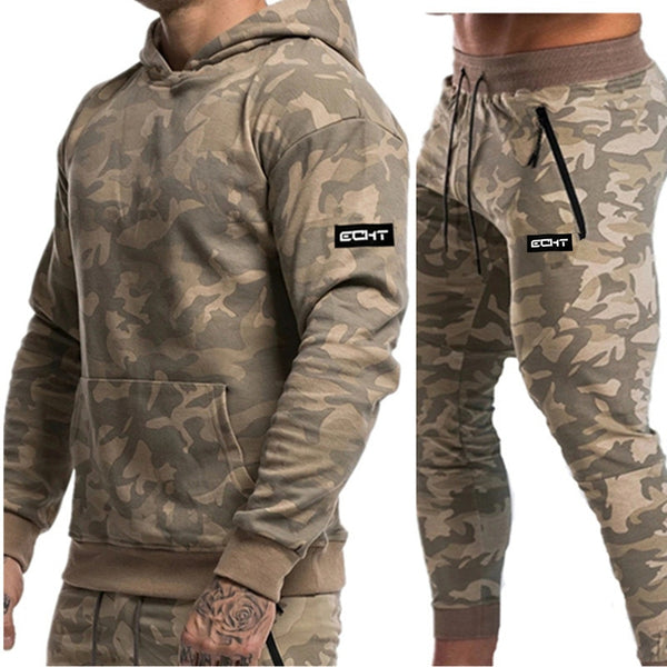 Gyms Running Sportswear Suit Men Fitness Suits Long Sleeve Camouflage Hoodies+Pants