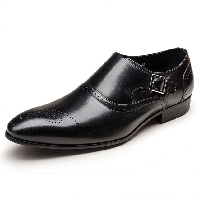 Fashion Double Monk Buckle Strap Shoes Vintage Brogue Shoes