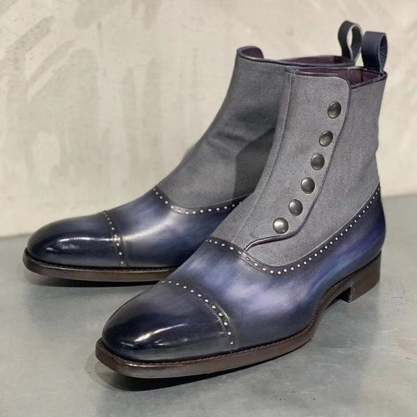 Men's Vintage Leather Ankle Boot Low Heels Matin Shoes