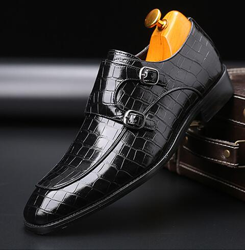 Fashion Men's Business Casual Monk Strap Wedding Dress Shoes