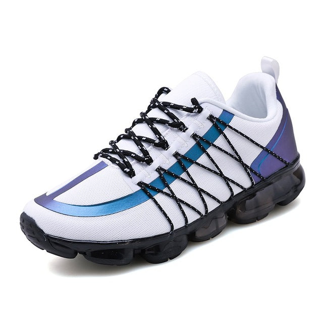 Men Mesh Breathable Lac-up Sneakers Reflective Strip Lightweight Casual Shoes