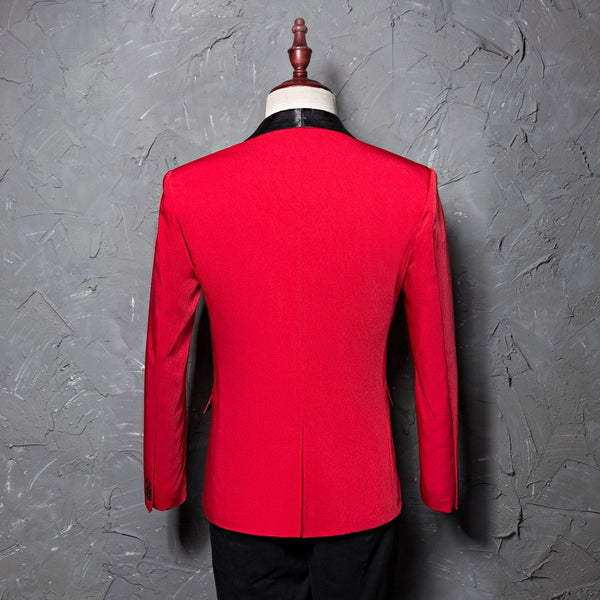 Luxury Men's Red Shawl Collar Suits Jacket Wedding Party Blazer Slim Fit Coat