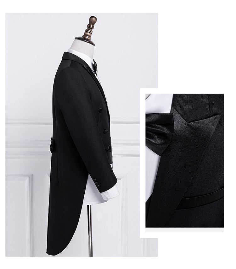 4 pcs Men's Suit Set Lapel Tail Coat Tuxedo Wedding Groom Stage Singer Suits