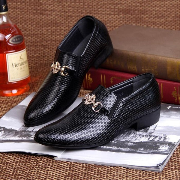 Men's Pointed Toe Dress Shoes Luxury Brand Crocodile Skin Shoes