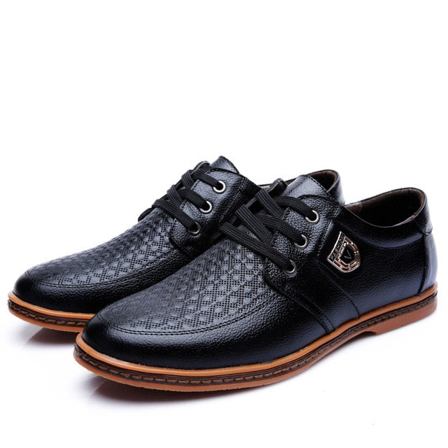 Quality Men's Leather Casual Shoes Brogue Moccasins Lace Up Flat