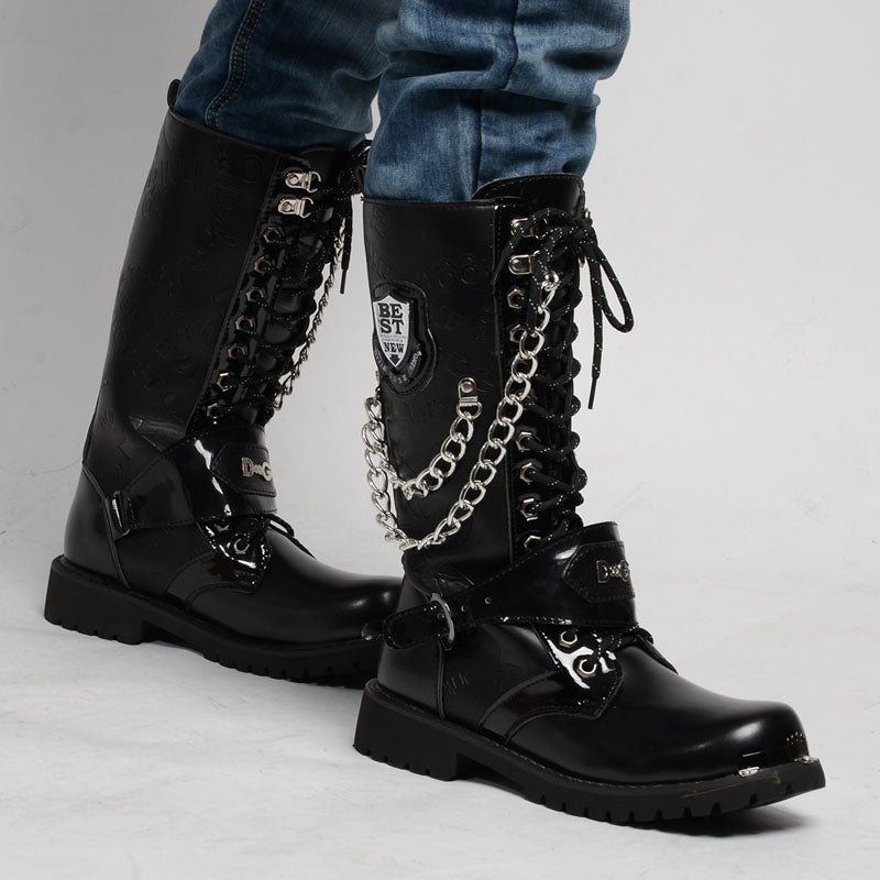 Top Quality Army Boots Men'S Military Combat Boots Motorcycle Punk Boots