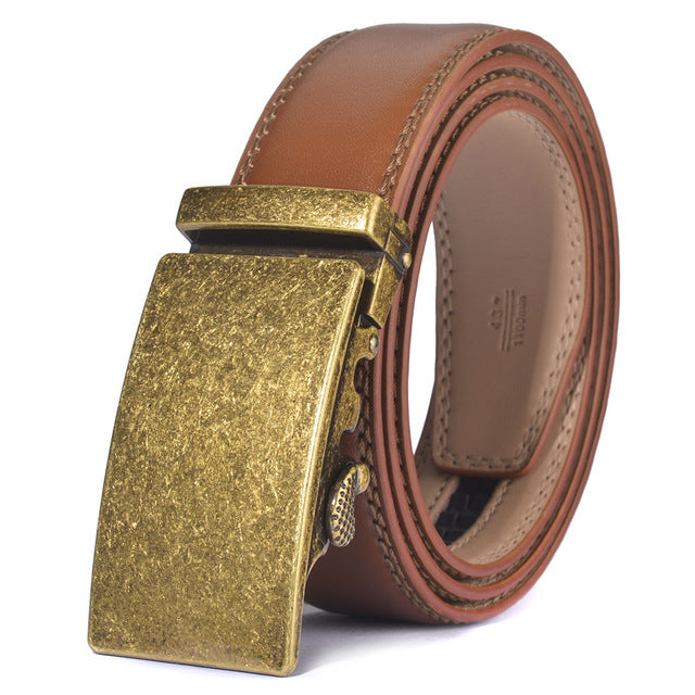 Luxury Men's Automatic Buckle Leather Belt Vintage Style Quality Belts