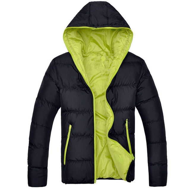 Men's Hooded Warm Thick Padded Down Jacket Zipper Coats Outerwear