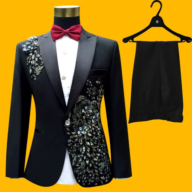 Luxury Men's 3-Pcs Set Embroidered Flower Suits Singers Perform Stage Sequins Wedding Suit