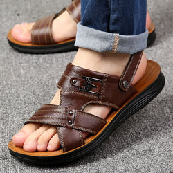 Men's Summer Leather Sandals Non-slip Open-toe Beach Shoes