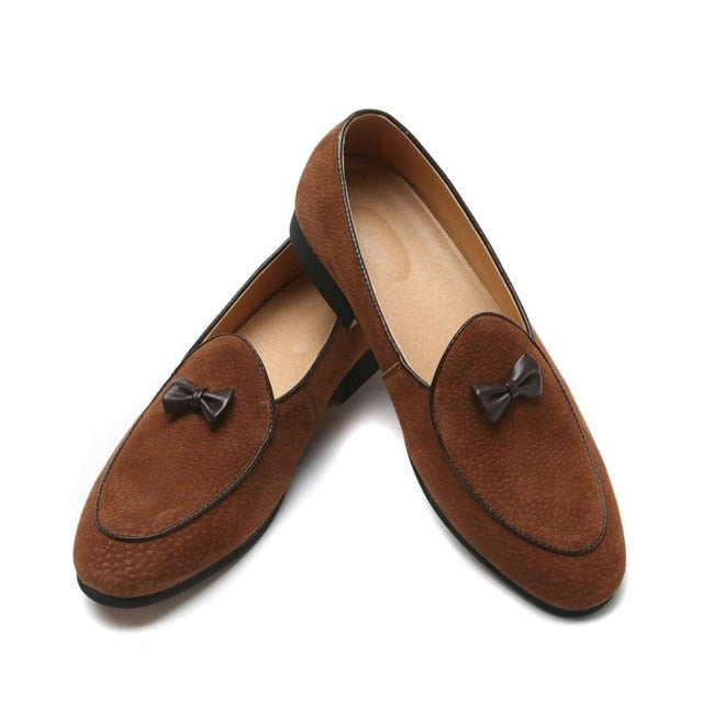 Men's Suede Leather Bowknot Doug Shoes Moccasin Flat Slip-On Dress Loafers
