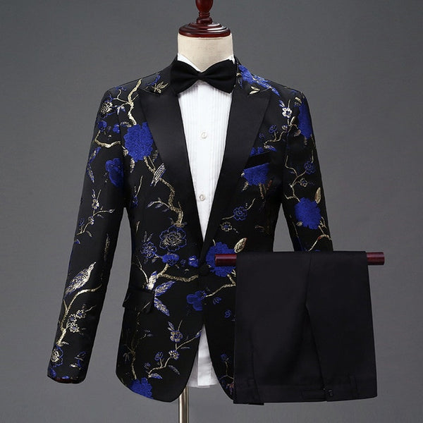 Quality Mens Floral Pattern Suits Set Embroidery Wedding Groom Tuxedo