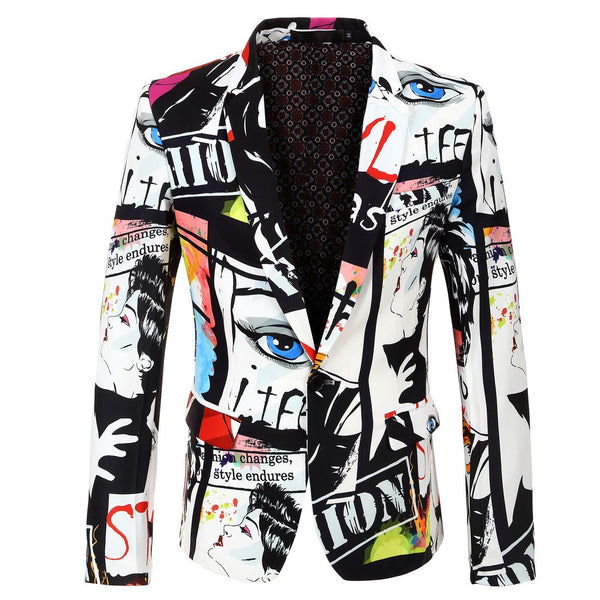 2019  Spring&Autumn Mens Fashion Print Blazer Hip Hop Casual Slim Fit Jacket Costume