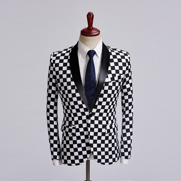 Fashion Men's Suit Jacket Singer Costume Black White Plaid Slim-Fit Blazer