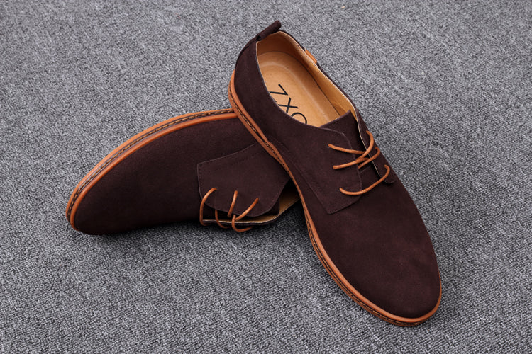 Quality Men's Casual Shoes Spring Flats Lace up Suede Oxfords Leather Shoe