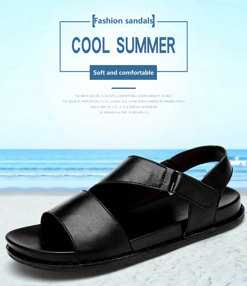 2019 New Men's Sandals Genuine Leather Casual Shoes Beach Shoe