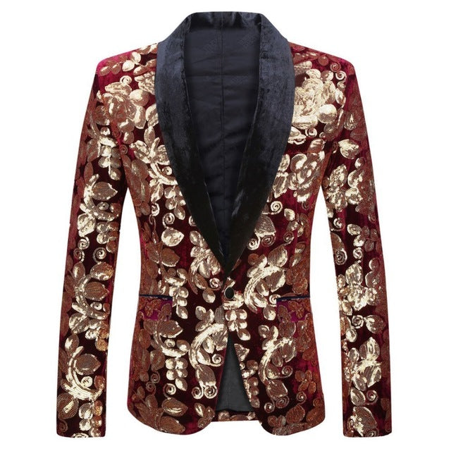 Men Shawl Lapel Blazer Designs Sequins Suit Jacket DJ Club Stage Singer Clothes