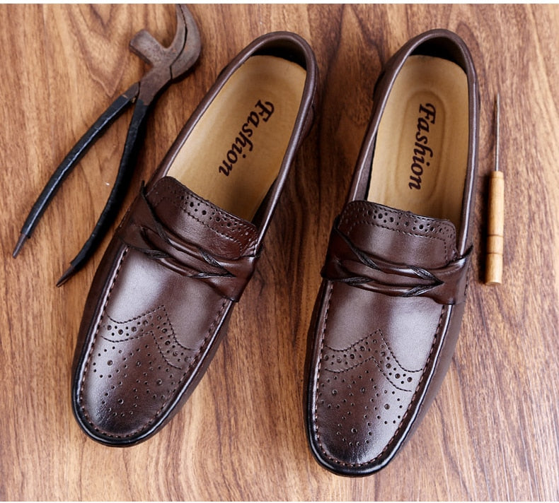 Luxury Men's Genuine Leather Shoes Flat Loafer  Slip-on Boat Shoes