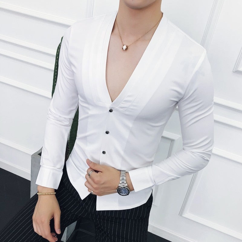 Men's Deep V Sexy Shirt Collarless Long Sleeve Slim Dress Shirt (Important Note:Please choose the size according to the size table)