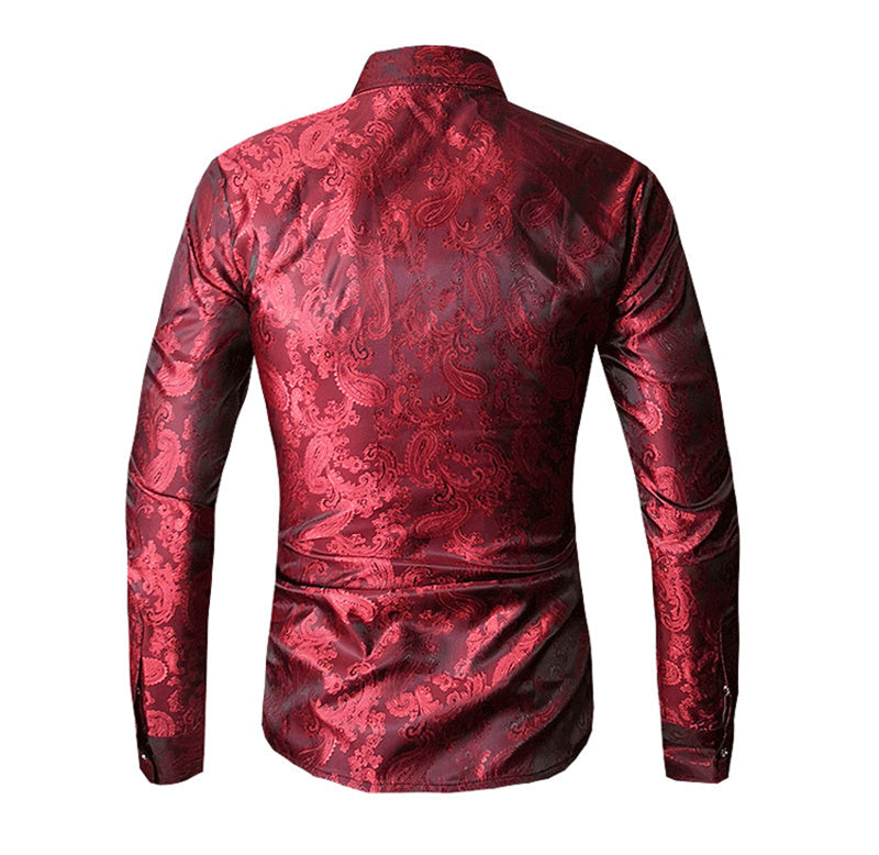 2019 New Men's Long Sleeve Shirts Embroidery Dress Shirt