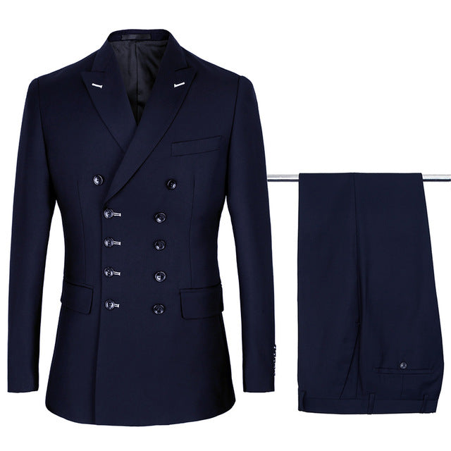 Quality 2 pcs Men's Double Breasted Suits Sets Wedding Suit Terno Costume
