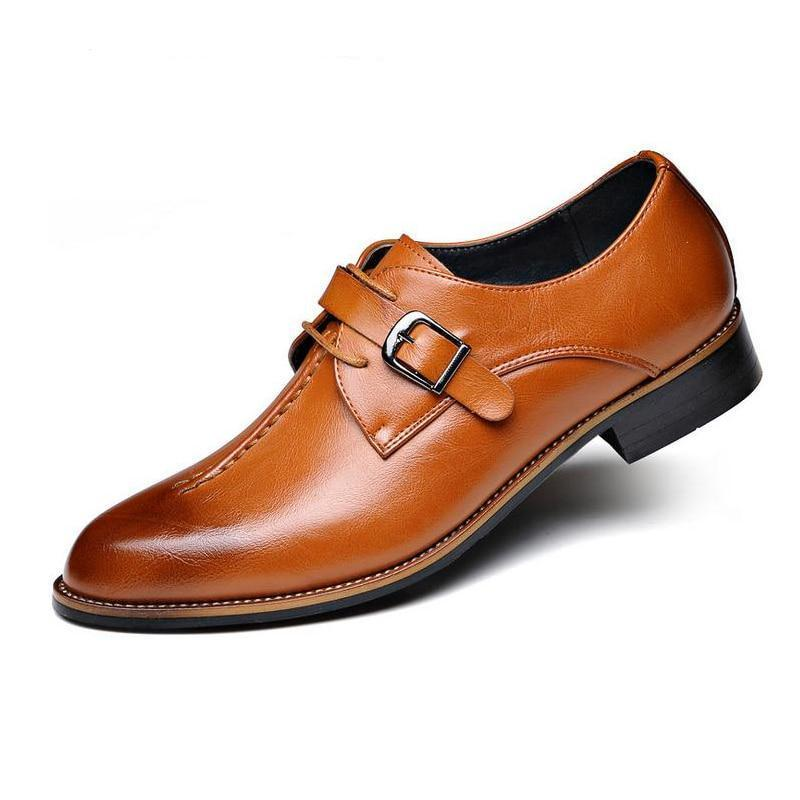 Retro Leather Brogue Business Formal Wedding Men Dress Shoes