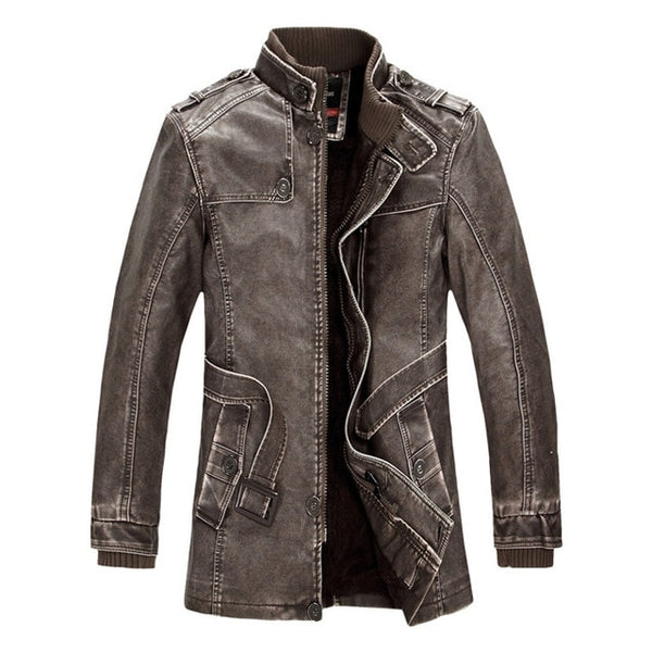 2019 New Men's PU Leather Jacket Motorcycle Coats Thick Fleece Outerwear
