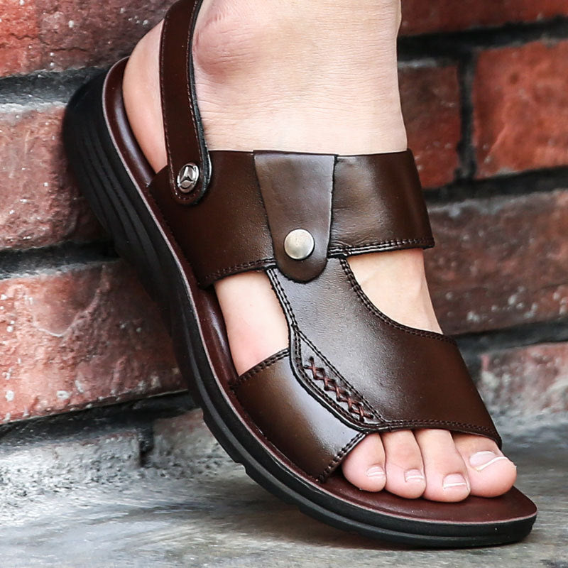 Men Sandals Genuine Leather Breathable Summer Beach Shoes Men Slippers Causal