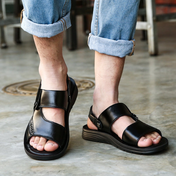 2019 Men's Genuine Split Leather Sandals Summer Beach Slippers