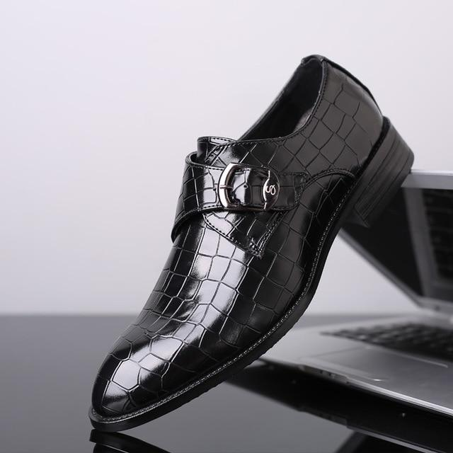 Plus Size Crocodile Pattern Leather Wedding Business Formal Men's Dress Shoes