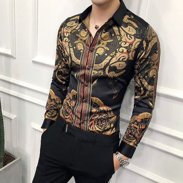 2019 New Baroque Slim Fit Shirt Long Sleeve Party Shirt Plus Size