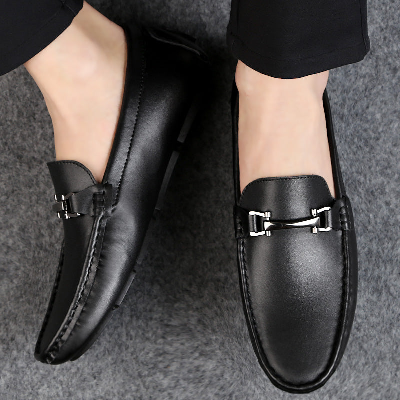 Luxury Men's Split Leather Loafers Slip-on Flat Driving Shoes