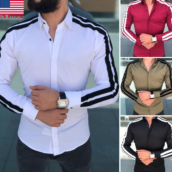 2019 Spring New Men's Shirts Long Sleeve Slim Fit Casual Shirt