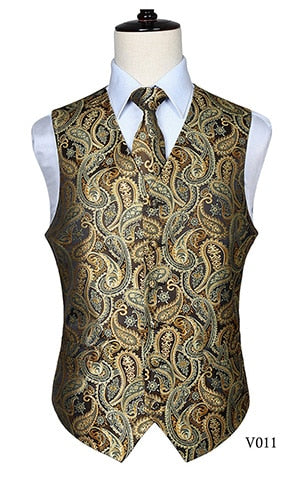 Luxury Men's Classic Paisley Jacquard Waistcoat Necktie Vest Wedding Tie Pocket Square Set