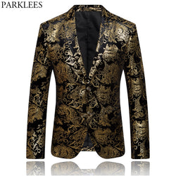 2019 Men's Paisley Floral Printed Suit Slim-Fit Single Breasted Suit Blazers Jacket