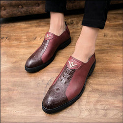Male Classic Crocodile  Wedding Party Oxfords Shoes Italian Men Dress Shoes Brogue Oxfords Slip On Dress Loafers Driving  LE-46