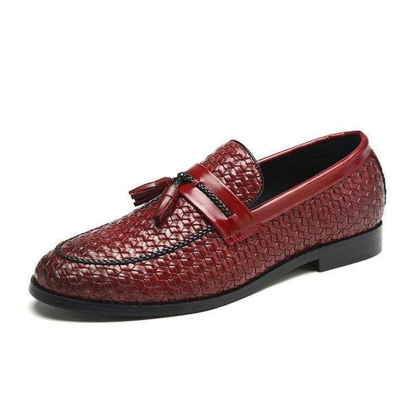 Retro Tassel Leather Lozenge Pattern Men Loafers