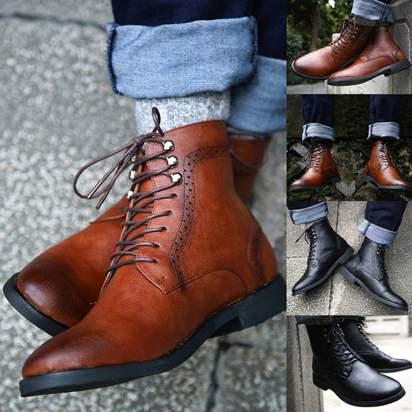 Quality Men's Chukka Boots Oxford PU Leather  Lace Up Ankle Boots