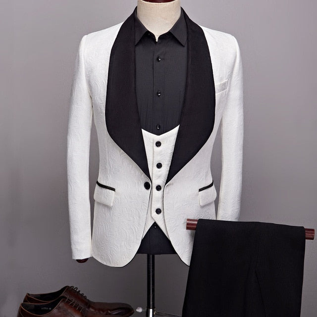 Men's 3-Pcs Suit Set Shawl Lapel Wedding Groom Suits Quality Jacquard Banquet Tuxedo