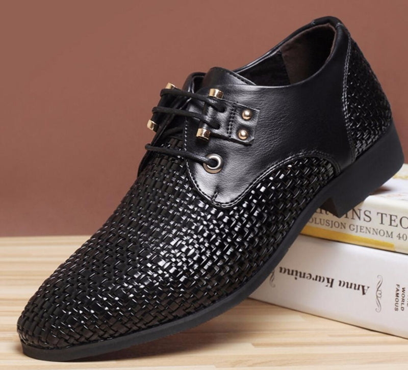 Summer Men's Genuine Breathable Leather  Retro Mesh Shoes