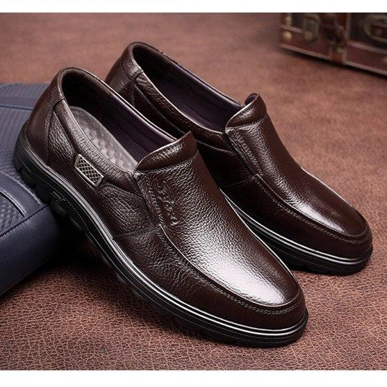 Fashion Genuine Leather Slip On Men Loafers Casual Shoes