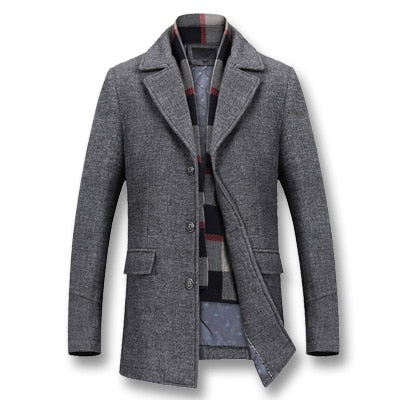 Quality Men's Thick Cotton Wool Jackets Trench Coat Slim Fit Outerwear