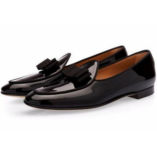 Men's Genuine Leather Shoes Bowknot Slip-on Loafers Wedding Shoe Dress Flats