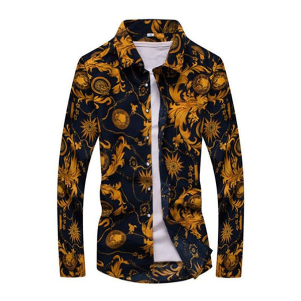 2019 New Men's Floral Print Slim Fit Shirts Long Sleeve Casual Dress Shirt