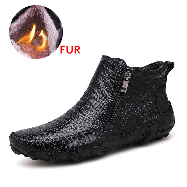 2019 New Fashion Men's Martin Chelsea Ankle Boot Crocodile High Top Casual Boots